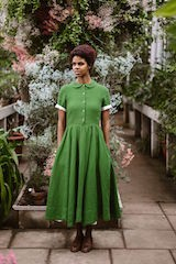Classic dress, short sleeve Spring Green