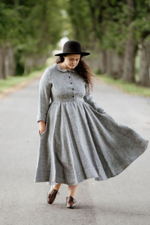 Twill Linen Classic dress, Long sleeve, Grey Moon