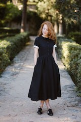 Classic dress, short sleeve Black Pansy
