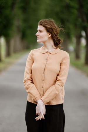 Peter Pan Collar Shirt, Sand Beige.