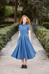 Classic dress, short sleeve Denim