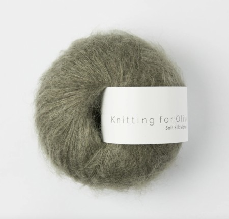 Soft silk mohair - støvet oliven, knitting for olive